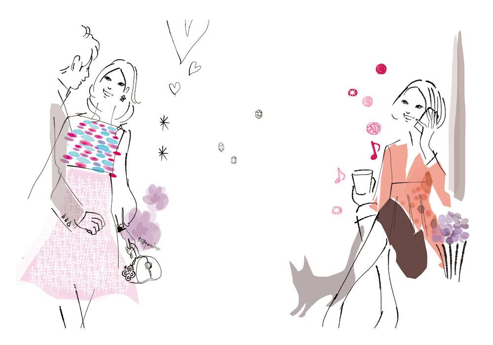 美 花 食 を描く 女性 の イラストレーション まゆみん